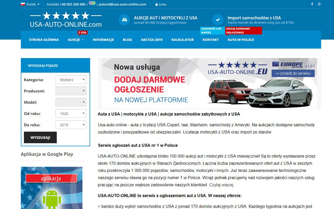 USA-AUTO-ONLINE.com Polska - desktop
